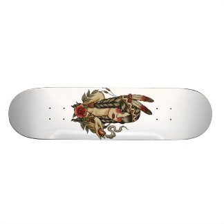 native American squaw smoking a pipe Skateboard