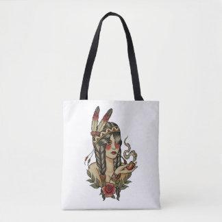 native American squaw smoking a pipe Tote Bag