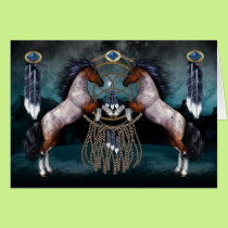 Native American Style Greeting Card With Ponies