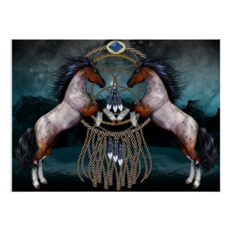Native American Style Ponies With Dream Catcher Poster
