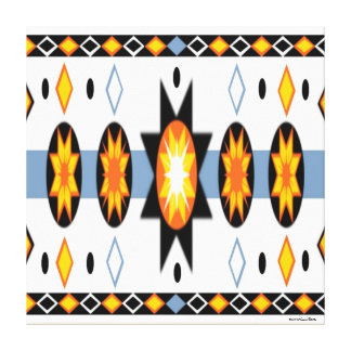 Native American Sun Pattern Stretched Canvas Print