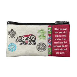 Native American Symbols and Wisdom - Bear Makeup Bag
