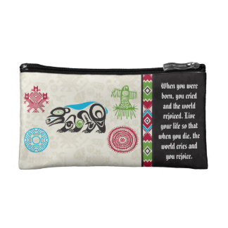 Native American Symbols and Wisdom - Bear Cosmetic Bags
