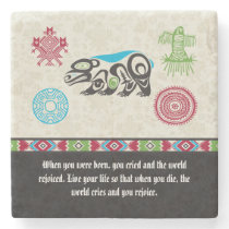 Native American Symbols and Wisdom - Bear Stone Coaster
