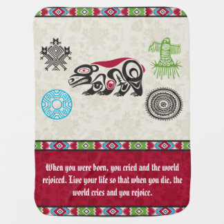 Native American Symbols and Wisdom - Bear Receiving Blankets