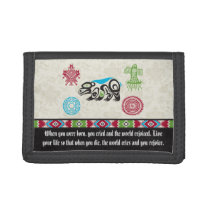 Native American Symbols and Wisdom - Bear Trifold Wallet