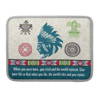 Native American Symbols and Wisdom - Chief Sleeve For MacBook Pro