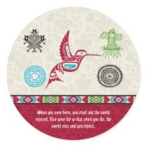 Native American Symbols and Wisdom - Hummingbird Classic Round Sticker