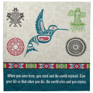 Native American Symbols and Wisdom - Hummingbird Cloth Napkin