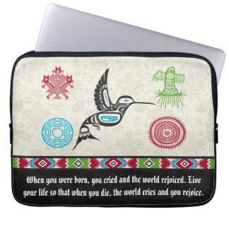 Native American Symbols and Wisdom - Hummingbird Laptop Computer Sleeve
