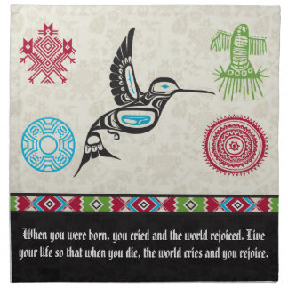 Native American Symbols and Wisdom - Hummingbird Printed Napkins
