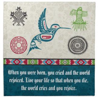 Native American Symbols and Wisdom - Hummingbird Cloth Napkins
