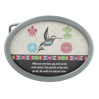 Native American Symbols and Wisdom - Hummingbird Oval Belt Buckles