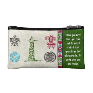 Native American Symbols and Wisdom - Totem Pole Cosmetic Bag