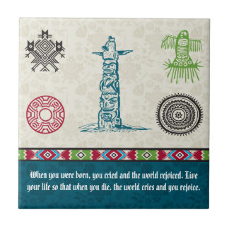 Native American Symbols and Wisdom - Totem Pole Ceramic Tile