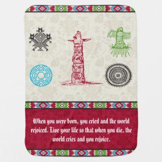 Native American Symbols and Wisdom - Totem Pole Swaddle Blanket