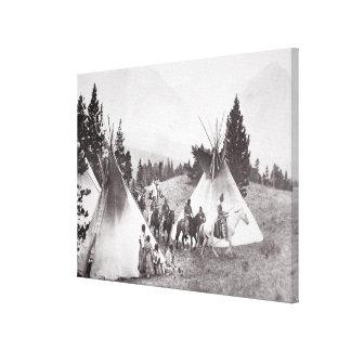 Native American Teepee Camp, Montana, c.1900 (b/w Canvas Print