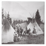 """Native American Teepee Camp, Montana, c.1900 (b/w Ceramic Tile<br><div class=""""desc"""">Image:245322  Native American Teepee Camp,  Montana,  c.1900 (b/w photo). American Photographer,  (20th century). Private Collection,  Peter Newark American Pictures.  Art,  Fine Art.</div>"""