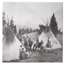 Native American Teepee Camp, Montana, c.1900 (b/w Ceramic Tile