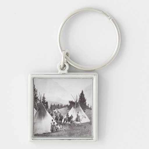 Native American Teepee Camp, Montana, c.1900 (b/w Key Chains