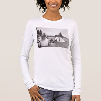 Native American Teepee Camp, Montana, c.1900 (b/w Long Sleeve T-Shirt