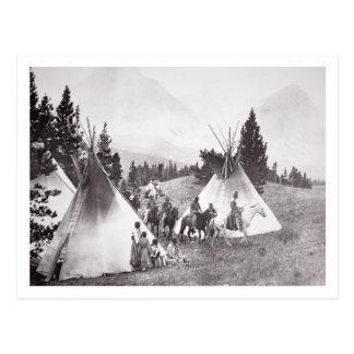 Native American Teepee Camp, Montana, c.1900 (b/w Postcard