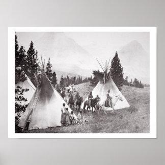 Native American Teepee Camp, Montana, c.1900 (b/w Poster