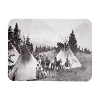 Native American Teepee Camp, Montana, c.1900 (b/w Rectangular Photo Magnet