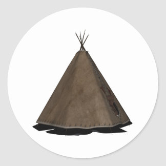 native american teepee classic round sticker