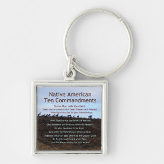 Native American Ten Commandments Keychain