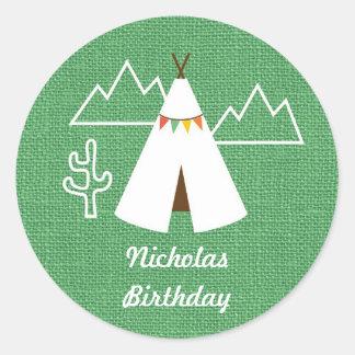 Native American Tipi Birthday Party Favor Sticker