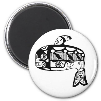 Native American Tlingit Whale 2 Inch Round Magnet