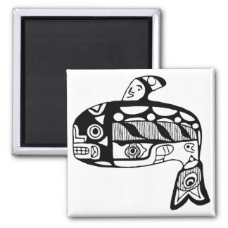 Native American Tlingit Whale 2 Inch Square Magnet