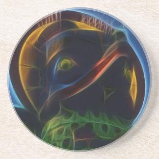 Native American Totem Pole Fractal Art Design Coaster