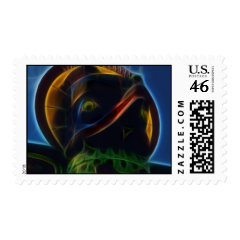 Native American Totem Pole Fractal Art Design Postage Stamp