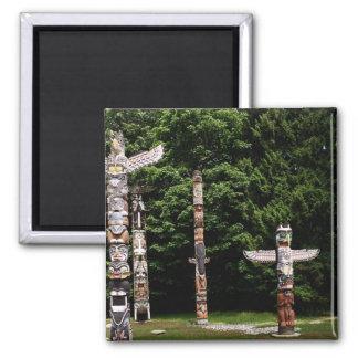 Native American totem poles, Vancouver, British 2 Inch Square Magnet