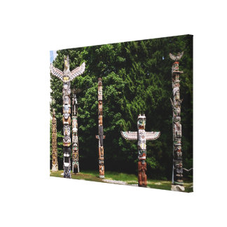 Native American totem poles, Vancouver, British Canvas Print