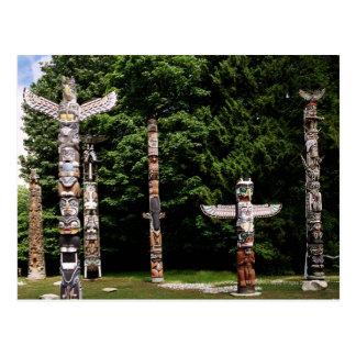 Native American totem poles, Vancouver, British Postcard