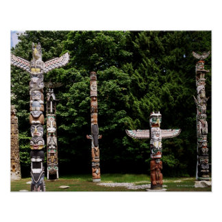 Native American totem poles, Vancouver, British Poster