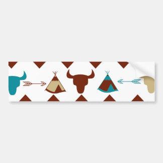 Native American Tribal Chevron Skulls Tipi Arrows Bumper Sticker