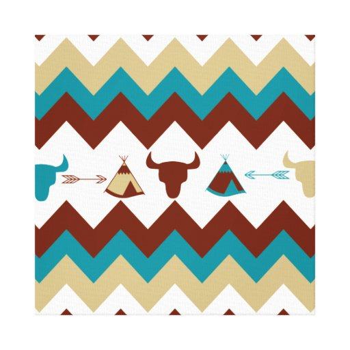 Native American Tribal Chevron Skulls Tipi Arrows Gallery Wrapped Canvas