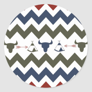 Native American Tribal Chevron Skulls Tipi Arrows Classic Round Sticker