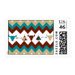 Native American Tribal Chevron Skulls Tipi Arrows Stamps