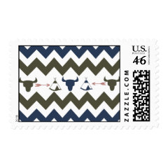 Native American Tribal Chevron Skulls Tipi Arrows Postage Stamp