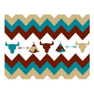 Native American Tribal Chevron Skulls Tipi Arrows Postcard