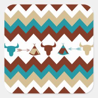 Native American Tribal Chevron Skulls Tipi Arrows Square Sticker