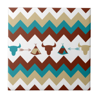 Native American Tribal Chevron Skulls Tipi Arrows Tile