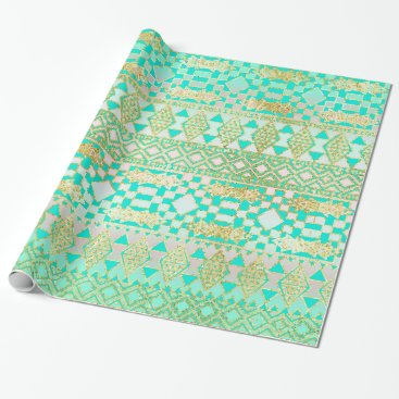 Aztec Themed Native American Turquoise & Gold Wrapping Paper
