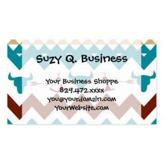 Native American Turquoise Red Chevron Tipi Skulls Business Card Templates