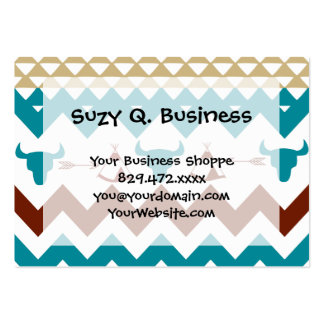 Native American Turquoise Red Chevron Tipi Skulls Business Cards
